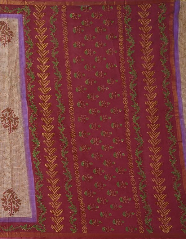 Online Shopping for Mehandi Green Pure Hand Block Printed Kota Cotton Saree with Hand Block Prints from Rajasthan at Unnatisilks.comIndia