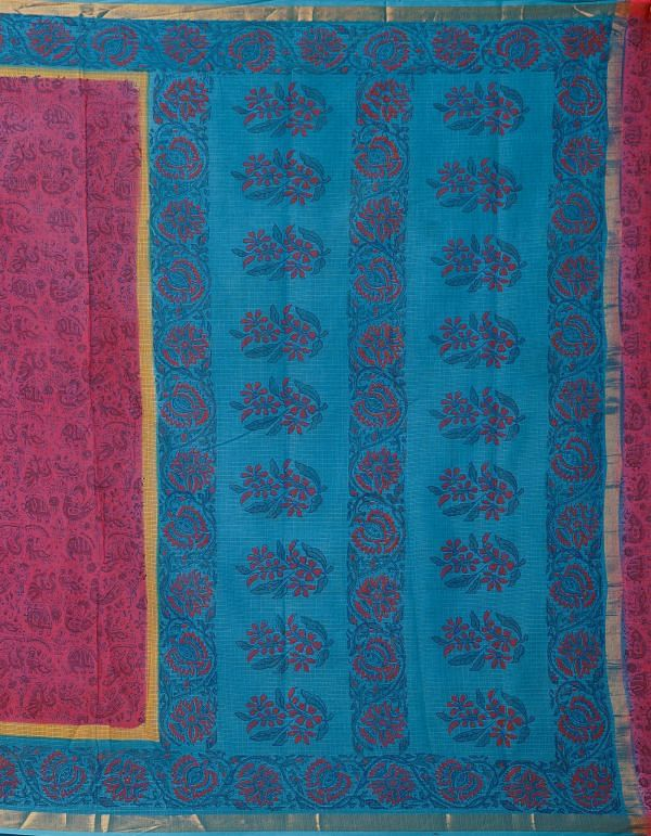 Online Shopping for Red Pure Hand Block Printed Kota Cotton Saree with Hand Block Prints from Rajasthan at Unnatisilks.comIndia
