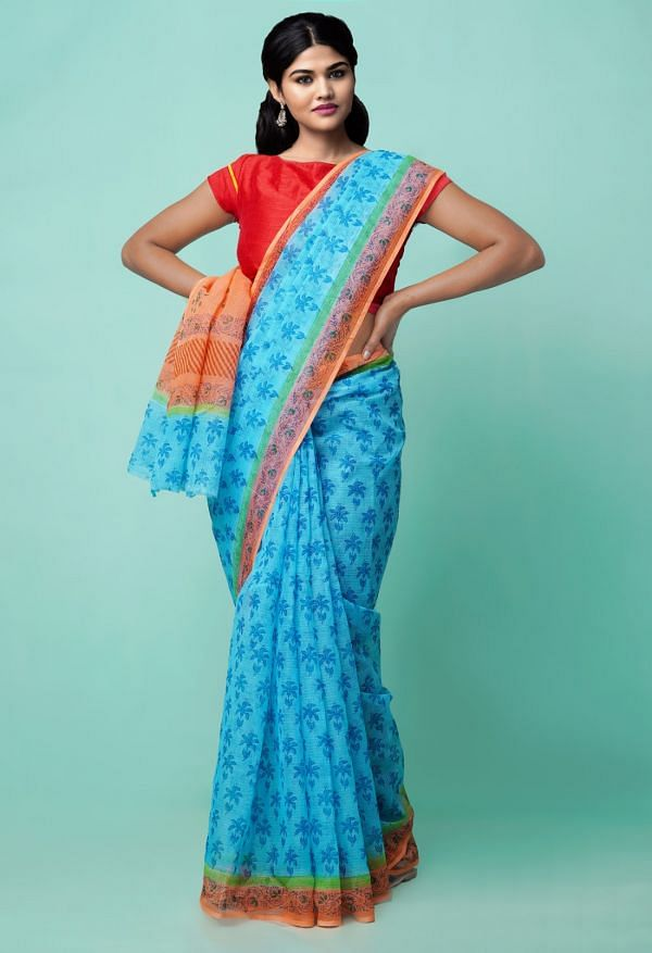 Online Shopping for Blue Pure Hand Block Printed Kota Cotton Saree with Hand Block Prints from Rajasthan at Unnatisilks.comIndia
