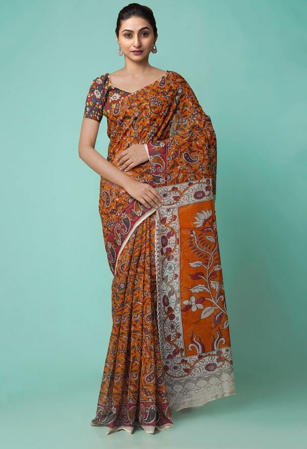 Online Shopping for Orange Pure Kalamkari Kota Cotton Saree with Kalamkari from Rajasthan at Unnatisilks.comIndia
