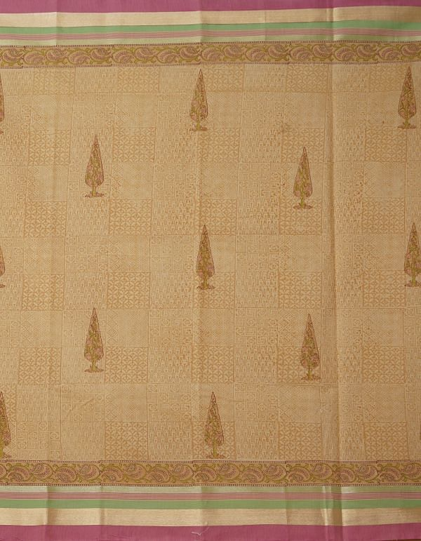 Online Shopping for Cream Pure Chanderi Sico Saree with Hand Block Prints from Madhya Pradesh at Unnatisilks.comIndia