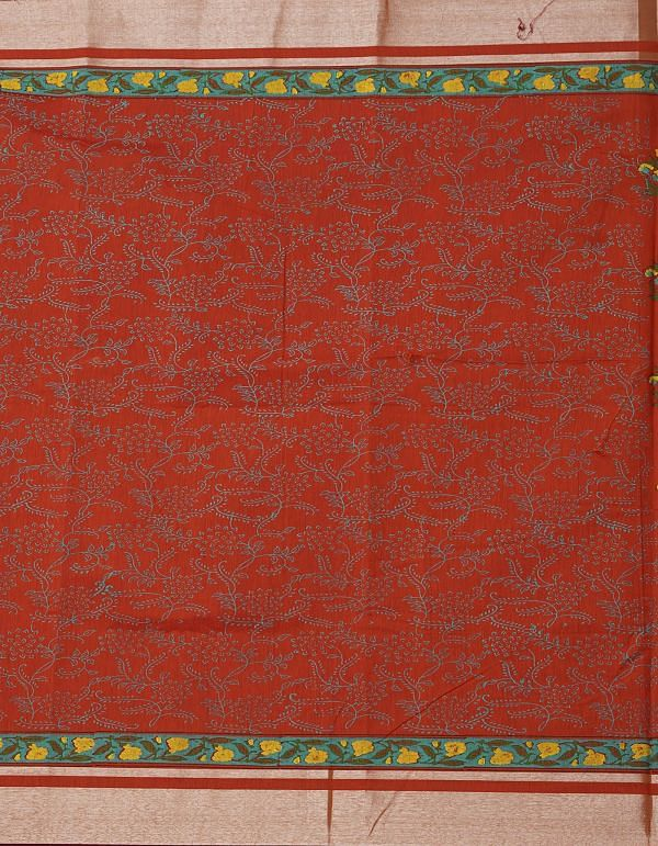 Online Shopping for Orange Pure Chanderi Sico Saree with Hand Block Prints from Madhya Pradesh at Unnatisilks.comIndia