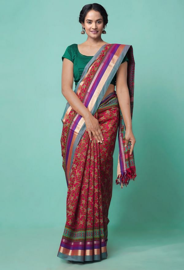 Online Shopping for Pink Pure Chanderi Sico Saree with Hand Block Prints from Madhya Pradesh at Unnatisilks.comIndia