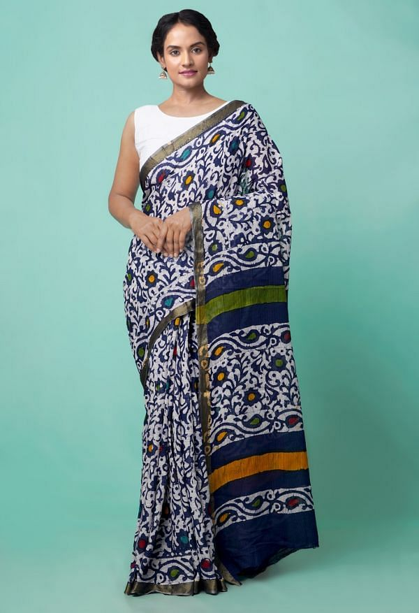 Online Shopping for Navy Blue Pure Batik Printed Mulmul Cotton Saree with Batik from Rajasthan at Unnatisilks.comIndia