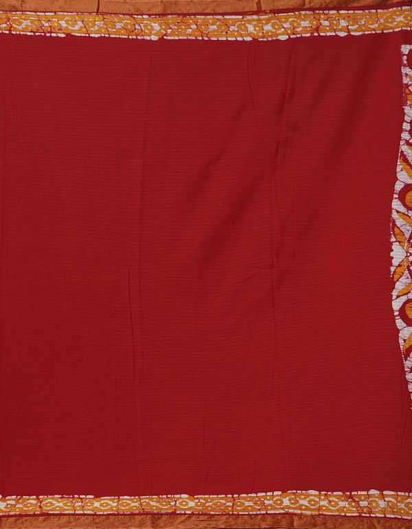 Online Shopping for Red Pure Batik Printed Mulmul Cotton Saree with Batik from Rajasthan at Unnatisilks.comIndia