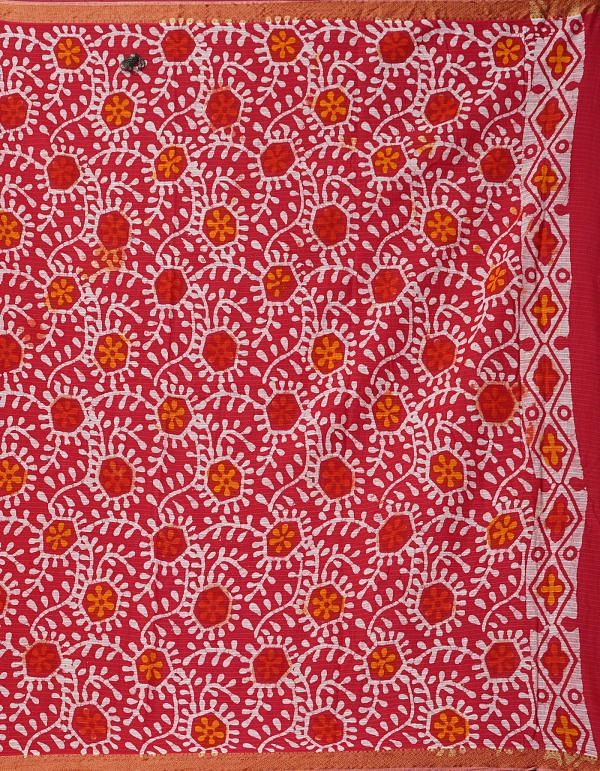 Online Shopping for Red Pure Batik Printed Mulmul Cotton Saree with Hand Block Prints from Madhya Pradesh at Unnatisilks.comIndia