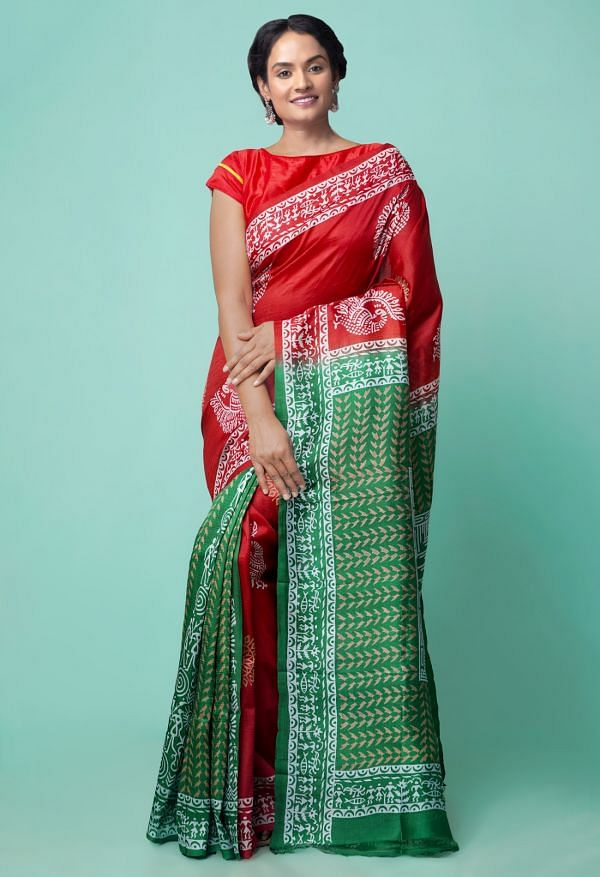Online Shopping for Maroon Pure Handloom Bengal Tussar Silk Saree with Hand Block Prints from West Bengal at Unnatisilks.comIndia