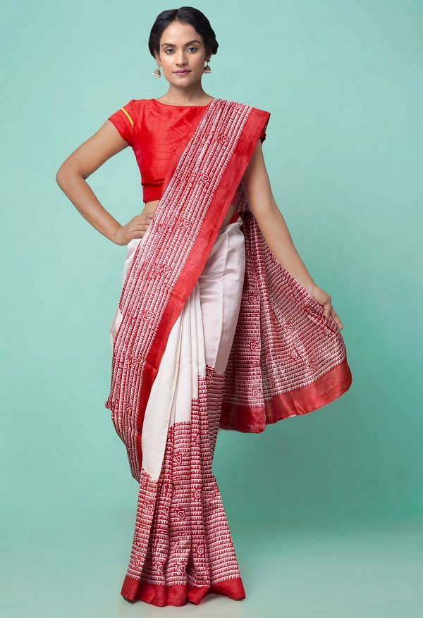 Online Shopping for Red-Cream Pure Handloom Bengal Tussar Silk Saree with Hand Block Prints from West Bengal at Unnatisilks.comIndia