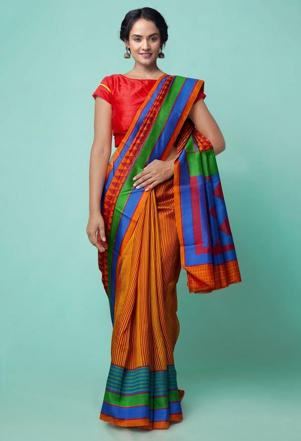Online Shopping for Red Pure Handloom Bengal Tussar Silk Saree with Hand Block Prints from West Bengal at Unnatisilks.comIndia