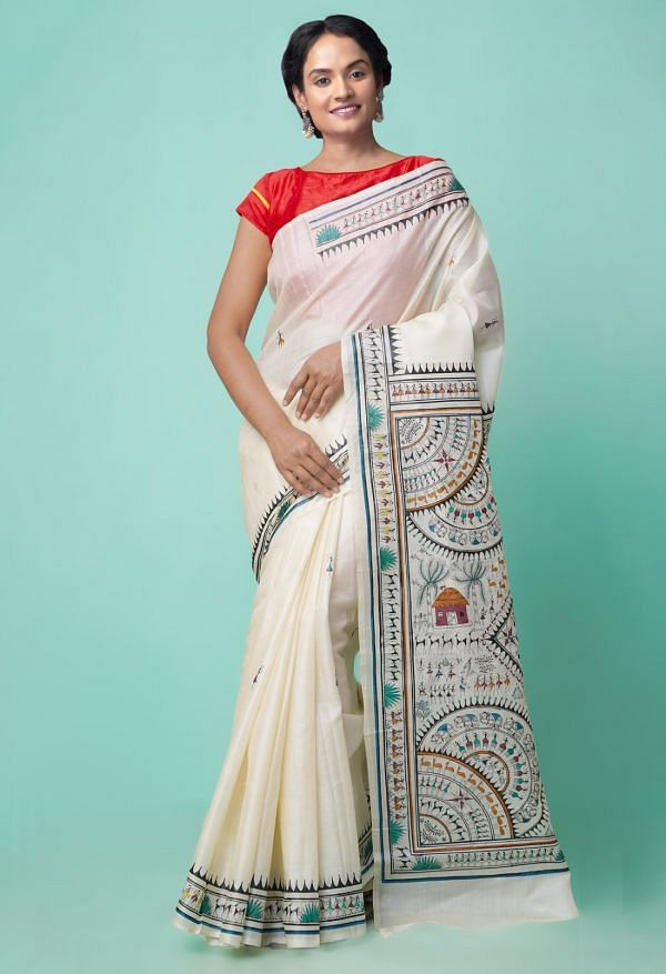 Online Shopping for Beige Pure Handloom Warli Painted Tussar Silk Saree with Hand Block Prints from West Bengal at Unnatisilks.comIndia
