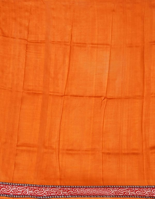 Online Shopping for Orange-Red Pure Handloom Bengal Tussar Silk Saree with Hand Block Prints from West Bengal at Unnatisilks.comIndia