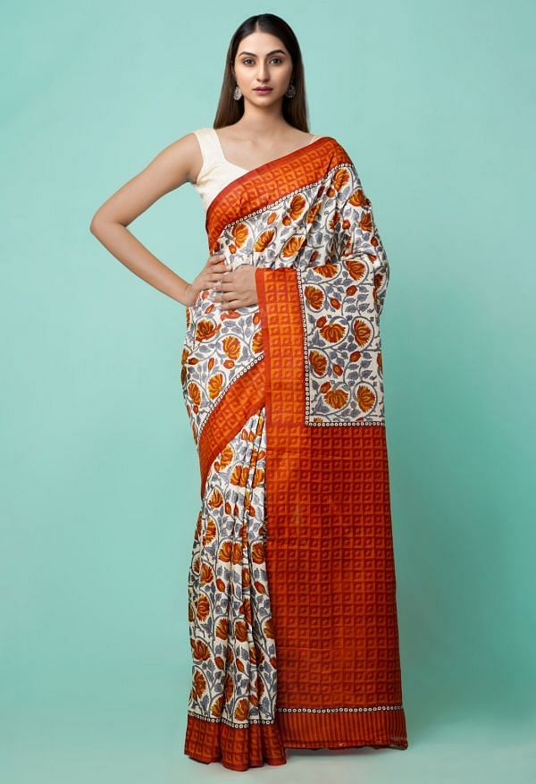 Online Shopping for Cream Pure Handloom Bengal Tussar Silk Saree with Hand Block Prints from West Bengal at Unnatisilks.comIndia