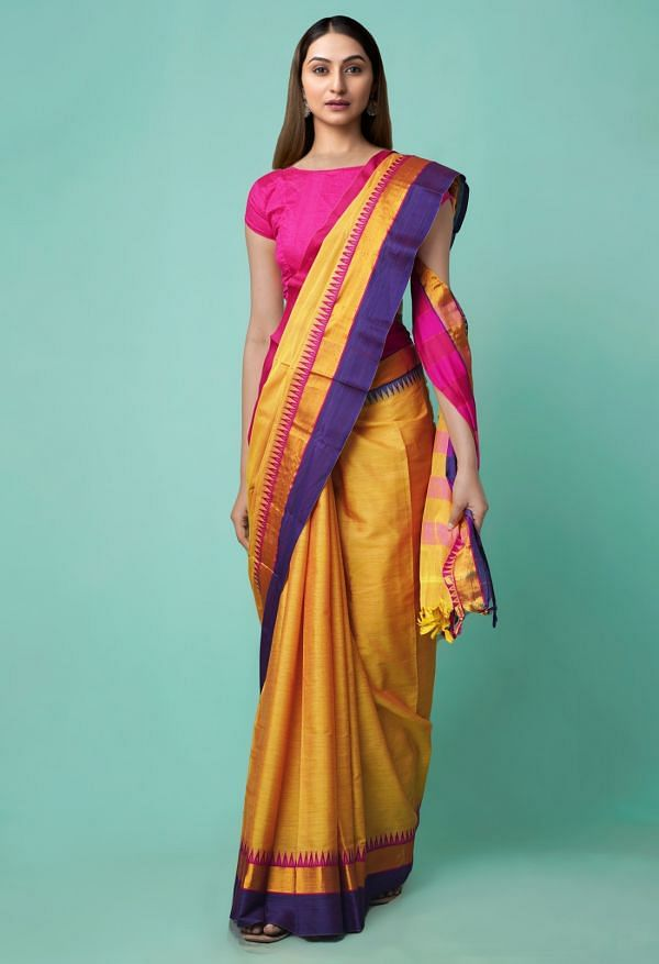Online Shopping for Yellow Pure Handloom Narayanpet Silk Cotton Saree with Weaving from Andhra Pradesh at Unnatisilks.comIndia