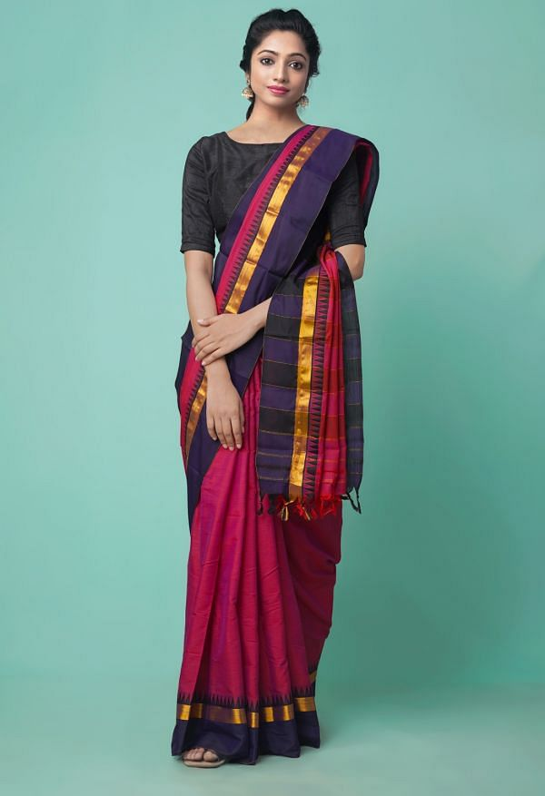 Online Shopping for Pink Pure Handloom Narayanpet Silk Cotton Saree with Hand Block Prints from Andhra Pradesh at Unnatisilks.comIndia