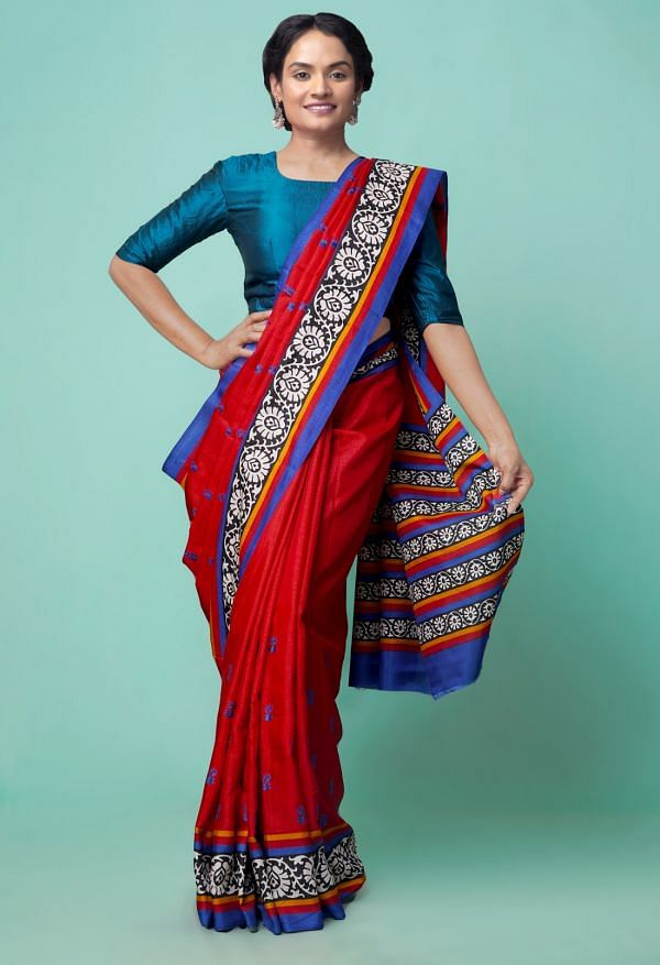 Online Shopping for Red  Embroidery Art Silk Saree with Hand Block Prints from Madhya Pradesh at Unnatisilks.comIndia