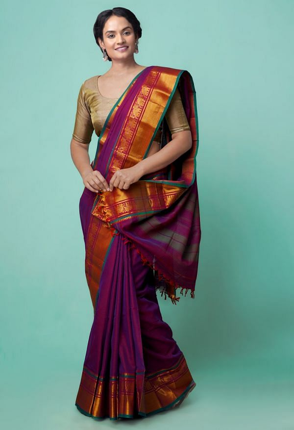 Online Shopping for Purple Pure Handloom Narayanpet Cotton Saree with Hand Block Prints from Andhra Pradesh at Unnatisilks.comIndia