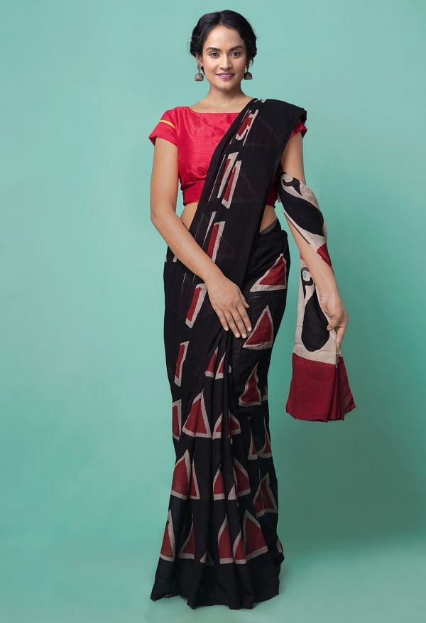 Online Shopping for Black Pure Bagru Printed Mulmul Cotton Saree with Hand Block Prints from Andhra Pradesh at Unnatisilks.comIndia