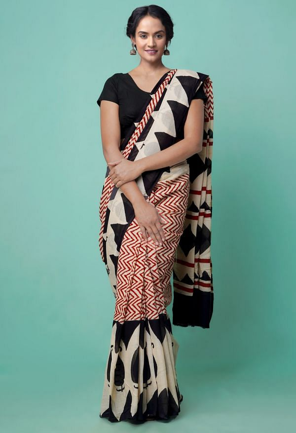 Online Shopping for Cream Pure Bagru Printed Mulmul Cotton Saree with Hand Block Prints from Andhra Pradesh at Unnatisilks.comIndia