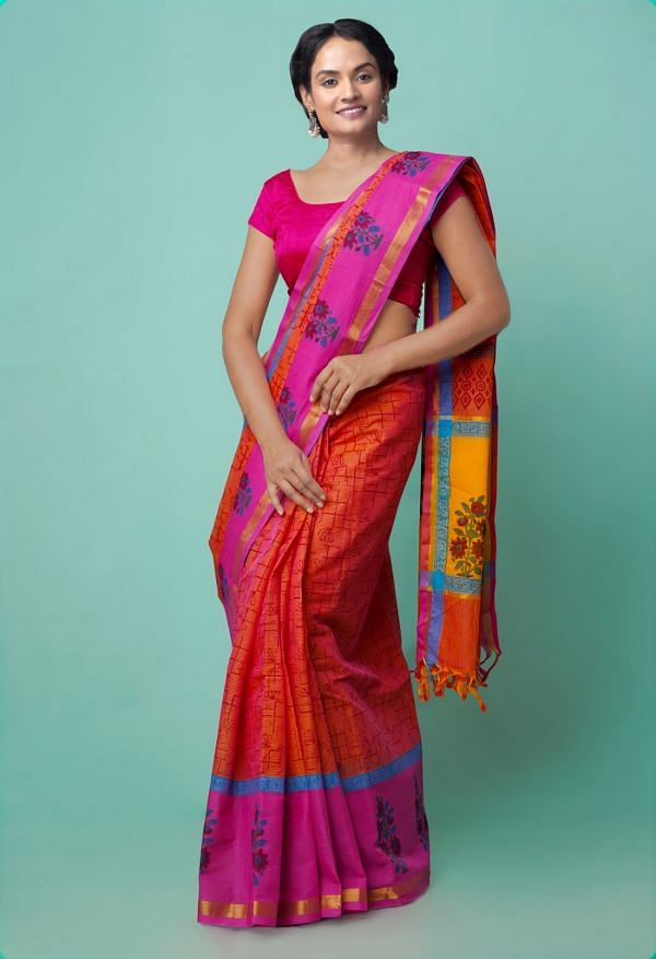 Online Shopping for Pink-Orange Pure Mangalagiri Cotton Saree with Hand Block Prints from Andhra Pradesh at Unnatisilks.comIndia