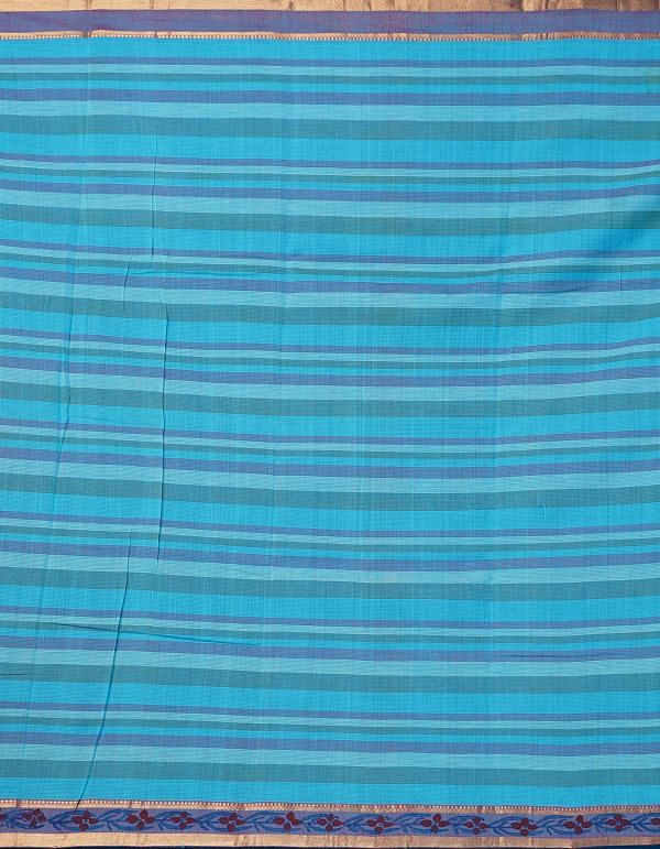 Online Shopping for Blue Pure Mangalagiri Cotton Saree with Hand Block Prints from Madhya Pradesh at Unnatisilks.comIndia