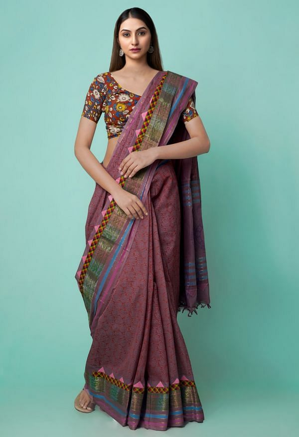 Online Shopping for Mauve Pink Pure Mangalagiri Applique Cotton Saree with Hand Block Prints from Andhra Pradesh at Unnatisilks.comIndia