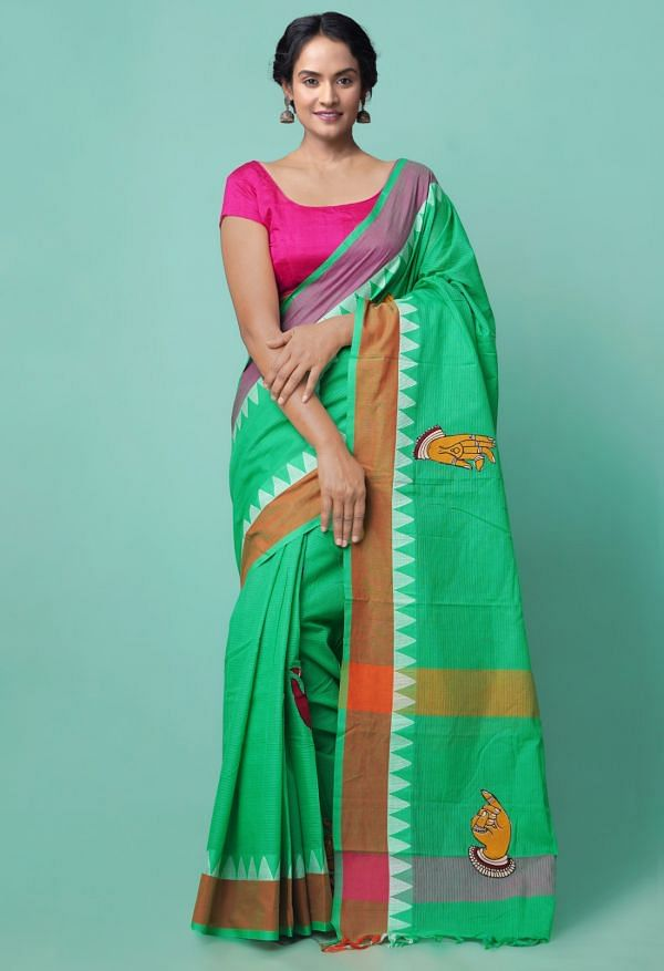 Online Shopping for Green Pure Mangalagiri Cotton Saree with Hand Block Prints from Andhra Pradesh at Unnatisilks.comIndia