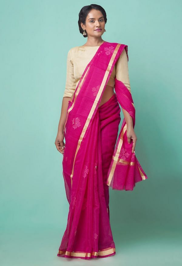 Online Shopping for Pink Pure Kota Applique Work Cotton Saree with Hand Block Prints from Andhra Pradesh at Unnatisilks.comIndia