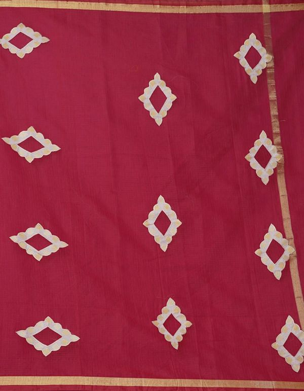 Online Shopping for Red Pure Kota Applique Work Cotton Saree with Dabu from Rajasthan at Unnatisilks.comIndia