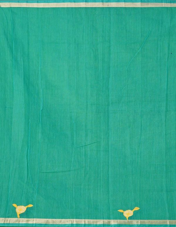 Online Shopping for Green Pure Kota Applique Work Cotton Saree with Applique from Rajasthan at Unnatisilks.comIndia