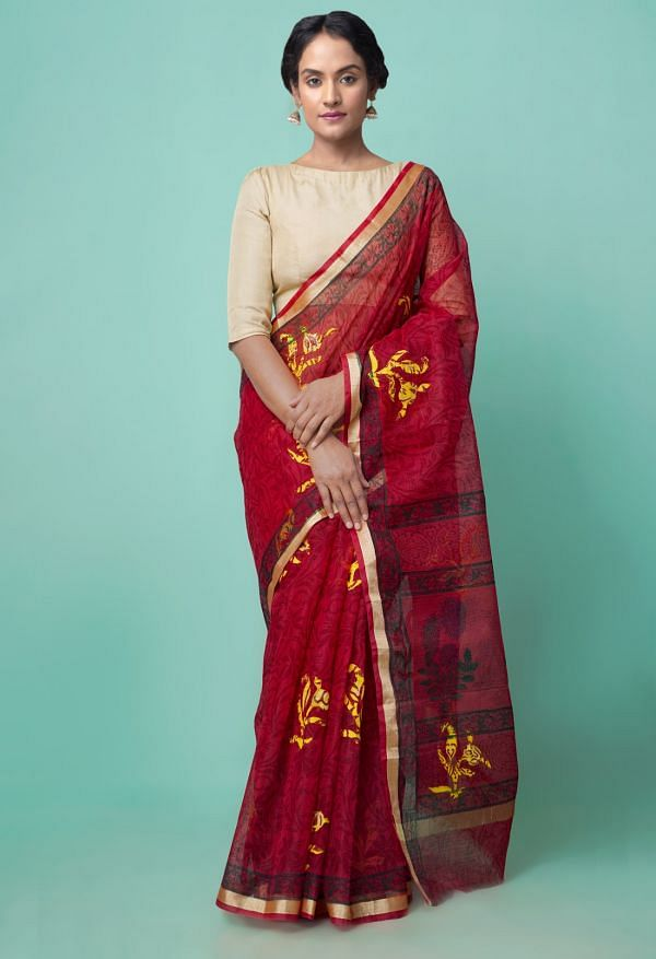 Online Shopping for Red Pure Kota Applique Work Cotton Saree with Applique from Rajasthan at Unnatisilks.comIndia