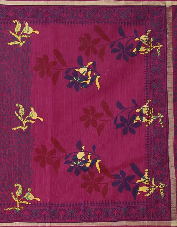 Online Shopping for Pink Pure Kota Applique Work Cotton Saree with Applique from Rajasthan at Unnatisilks.comIndia
