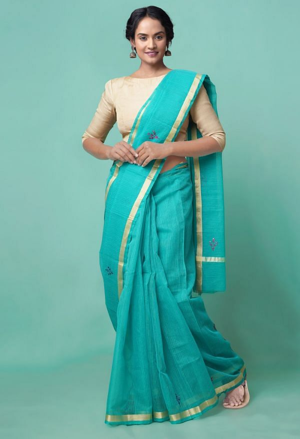 Online Shopping for Green Pure Kota Applique Work Cotton Saree with Hand Block Prints from Madhya Pradesh at Unnatisilks.comIndia