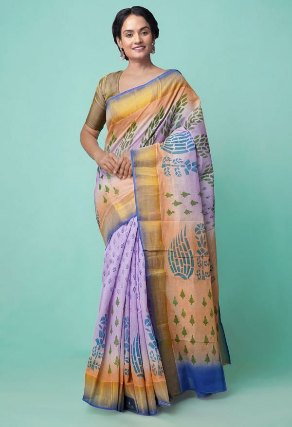 Online Shopping for Violet Pure Hand Block Printed Kerala Cotton Saree with Hand Block Prints from Kerala at Unnatisilks.comIndia