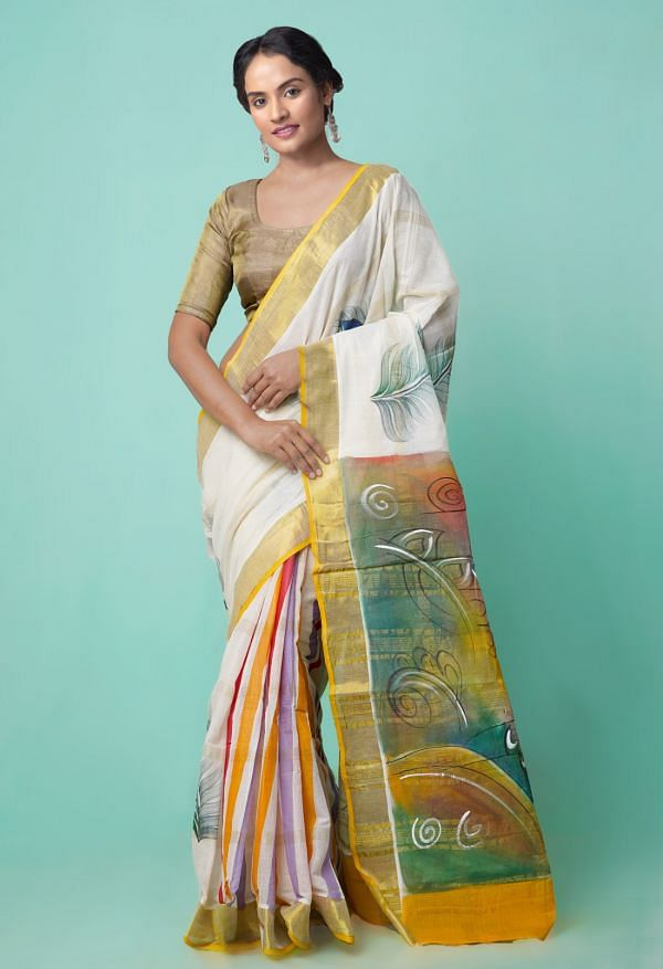 Online Shopping for Multi Pure Hand Block Printed Kerala Cotton Saree with Hand Block Prints from Kerala at Unnatisilks.comIndia