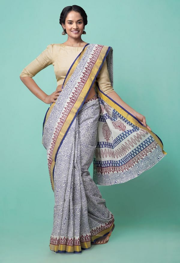 Online Shopping for Ivory Pure Hand Block Printed Kerala Cotton Saree with Hand Block Prints from Kerala at Unnatisilks.comIndia