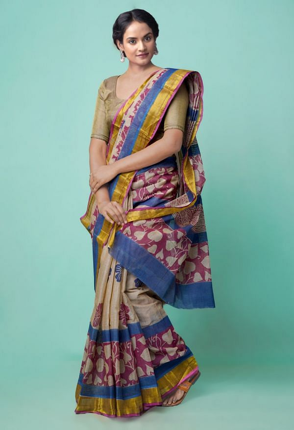 Online Shopping for Brown Pure Hand Block Printed Kerala Cotton Saree with Hand Block Prints from Kerala at Unnatisilks.comIndia