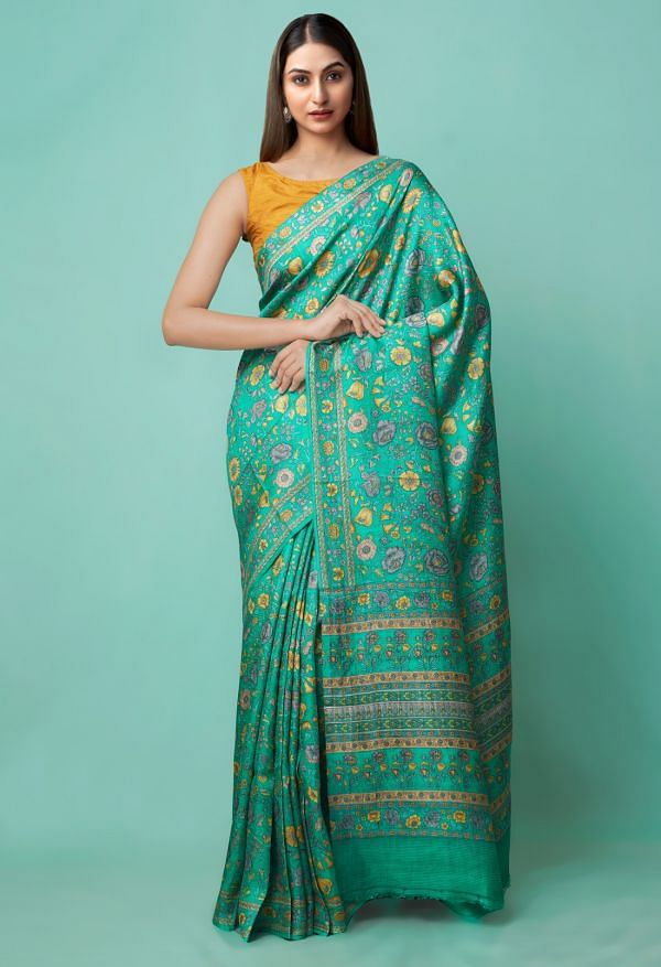 Online Shopping for Green Pure Handloom Sundarban Bengal Tussar Silk Saree with Hand Block Prints from West Bengal at Unnatisilks.comIndia