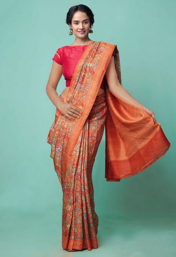 Online Shopping for Red Pure Handloom Sundarban Bengal Tussar Silk Saree with Hand Block Prints from West Bengal at Unnatisilks.comIndia