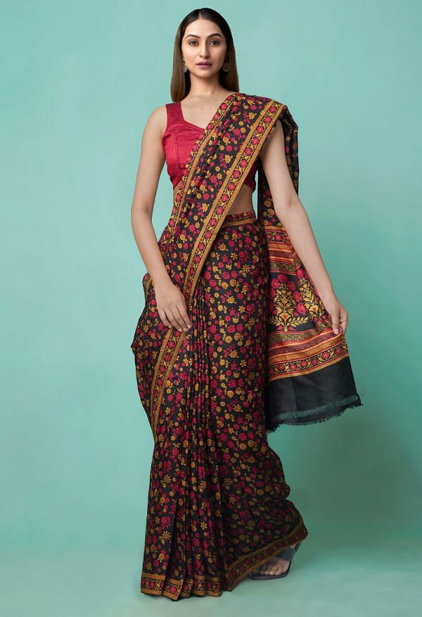 Online Shopping for Black Pure Handloom Sundarban Bengal Tussar Silk Saree with Hand Block Prints from West Bengal at Unnatisilks.comIndia
