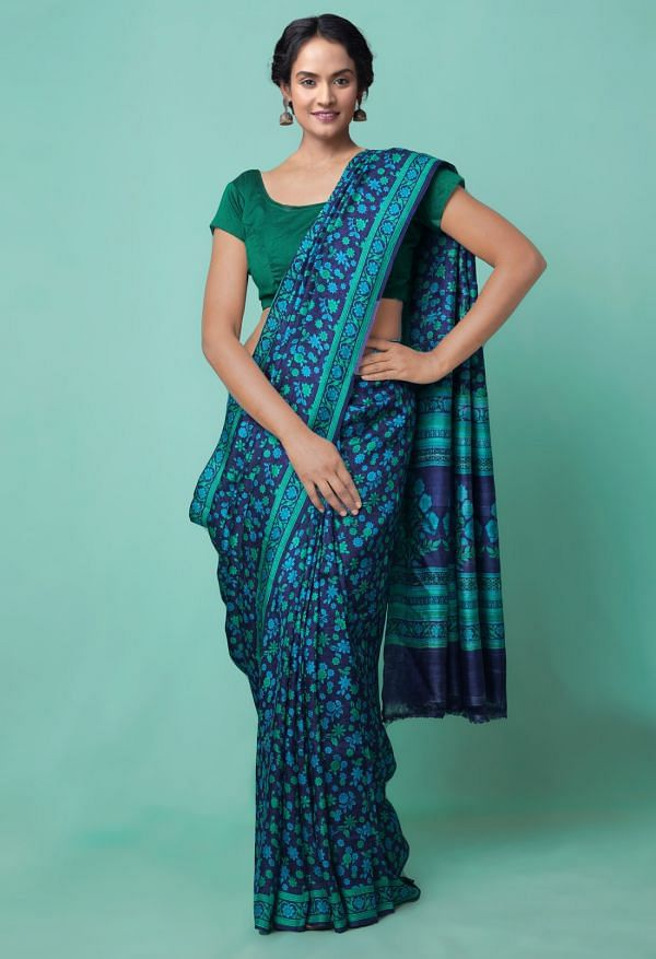 Online Shopping for Blue Pure Handloom Sundarban Bengal Tussar Silk Saree with Hand Block Prints from West Bengal at Unnatisilks.comIndia