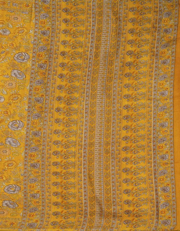 Online Shopping for Yellow Pure Handloom Sundarban Bengal Tussar Silk Saree with Hand Block Prints from West Bengal at Unnatisilks.comIndia