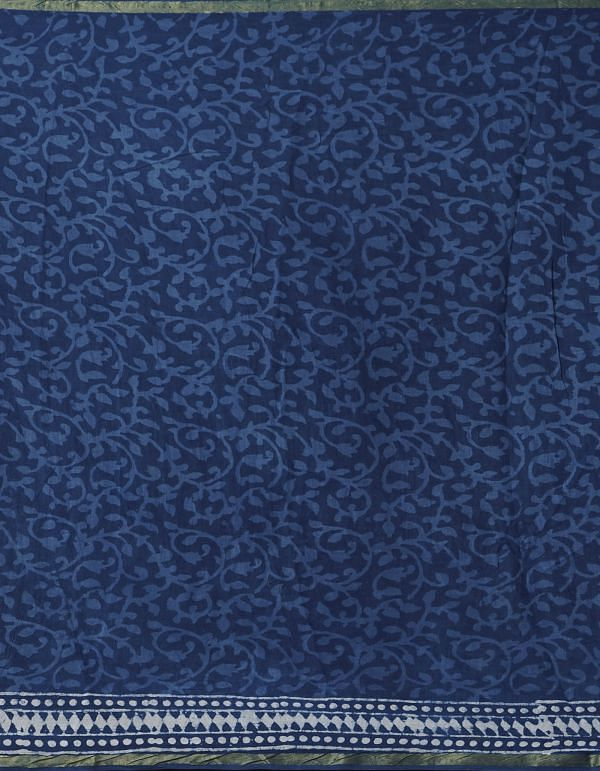 Online Shopping for Indigo Blue Pure Dabu Printed Mulmul Cotton Saree with Dabu from Rajasthan at Unnatisilks.comIndia