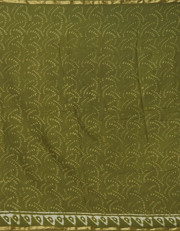 Online Shopping for Green Pure Dabu Printed Mulmul Cotton Saree with Dabu from Rajasthan at Unnatisilks.comIndia
