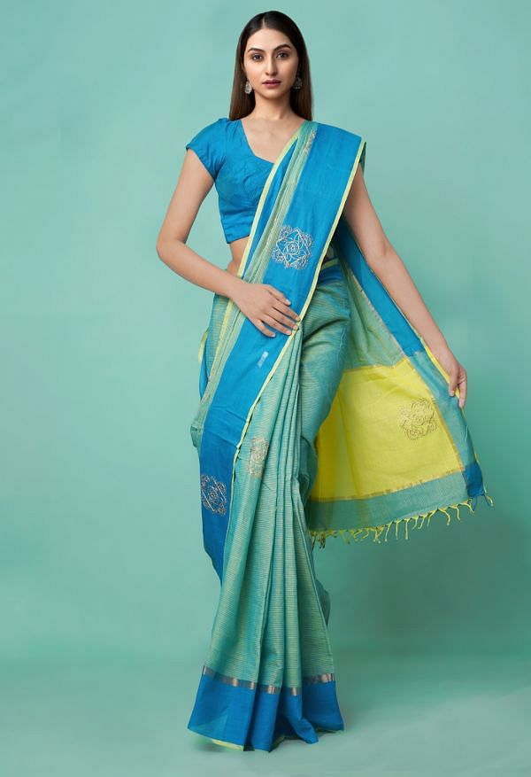 Online Shopping for Green-Blue Pure Mangalagiri Cotton Saree with Embroidery from Andhra Pradesh at Unnatisilks.comIndia