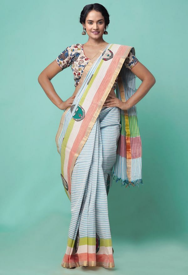 Online Shopping for Ivory-Blue Pure Mangalagiri Cotton Saree with Embroidery from Andhra Pradesh at Unnatisilks.comIndia