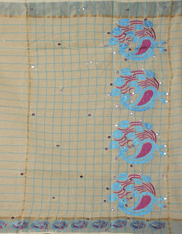 Online Shopping for Cream Pure Mangalagiri Cotton Saree with Embroidery from Andhra Pradesh at Unnatisilks.comIndia