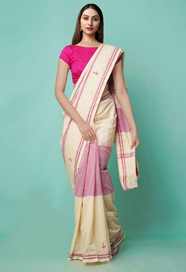 Online Shopping for Ivory-Pink Pure Mangalagiri Cotton Saree with Embroidery from Andhra Pradesh at Unnatisilks.comIndia