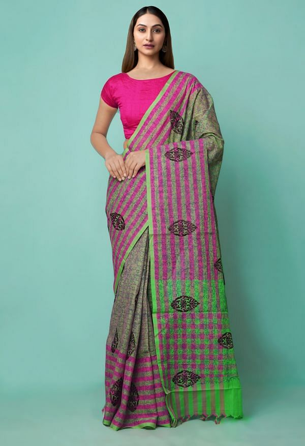 Online Shopping for Green-Pink Pure Mangalagiri Cotton Saree with Embroidery from Andhra Pradesh at Unnatisilks.comIndia