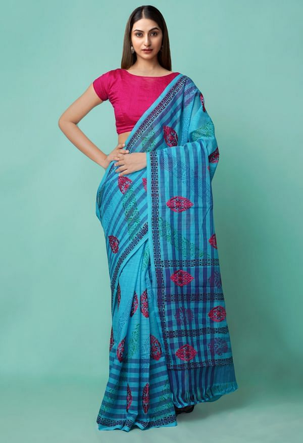 Online Shopping for Blue Pure Mangalagiri Cotton Saree with Embroidery from Andhra Pradesh at Unnatisilks.comIndia