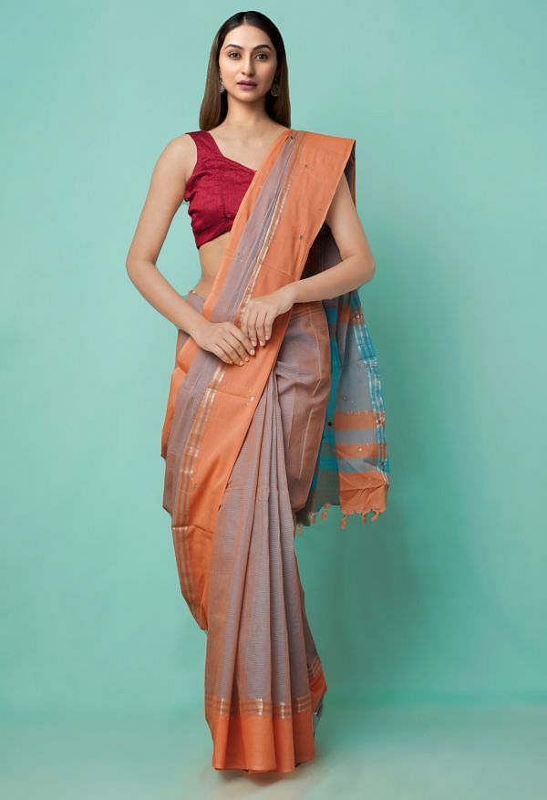 Online Shopping for Orange-Blue Pure Mangalagiri Cotton Saree with Embroidery from Andhra Pradesh at Unnatisilks.comIndia